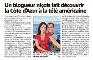 Blogueur Mickael Mugnaini et Journaliste Chelsea Cannell - Article Nice Matin - Tournage Emission Ovation TV - Blog Mister Riviera - Ambassadeur Cote dAzur France